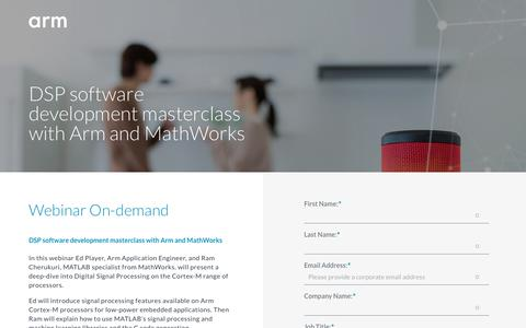 Screenshot of Landing Page arm.com - Webinar Recording - DSP software development masterclass with Arm and MathWorks - captured Oct. 4, 2018
