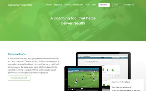 Screenshot of Products Page performasports.com - Products - Performance Analysis Software - Video Analysis - captured July 17, 2018
