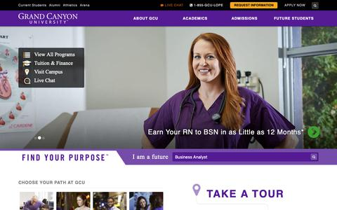 Screenshot of Home Page gcu.edu - Grand Canyon University | Private Christian University – Phoenix AZ - captured Oct. 7, 2018