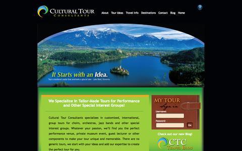 Screenshot of Home Page culturaltourconsultants.com - Cultural Tour Consultants - It starts with an Idea - Choir Tour, Group performance tour, Custom Choir tour, European Choir Tours - captured Sept. 30, 2014