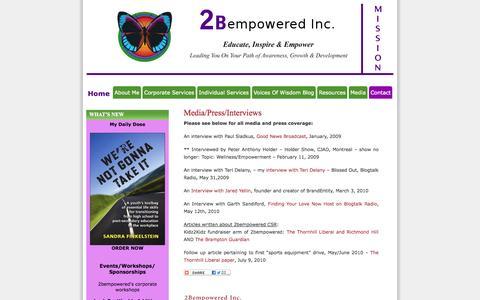 Screenshot of Press Page 2bempowered.com - Media/Press/Interviews | 2bempowered Inc. - captured Oct. 7, 2014