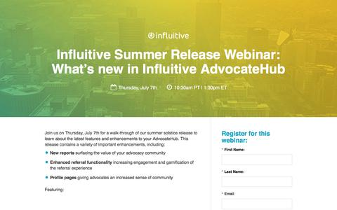 Screenshot of Landing Page influitive.com - What's new in Influitive AdvocateHub - captured Oct. 2, 2016