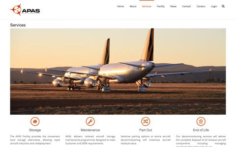 Screenshot of Services Page apas.com.au - Services - Asia Pacific Aircraft Storage - captured Oct. 4, 2018