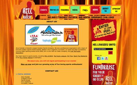 Screenshot of About Page hellandback.ie - About Us - captured Oct. 1, 2014