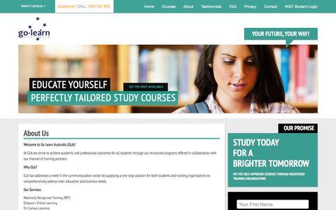 Screenshot of About Page golearnaustralia.com.au - Go-Learn Australia - captured Feb. 10, 2016