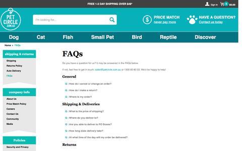 Screenshot of FAQ Page petcircle.com.au - FAQs | Pet Circle - captured May 5, 2017