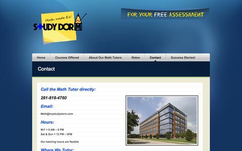 Screenshot of Contact Page mystudydorm.com - Contact Houston Math Tutor - captured Nov. 5, 2014
