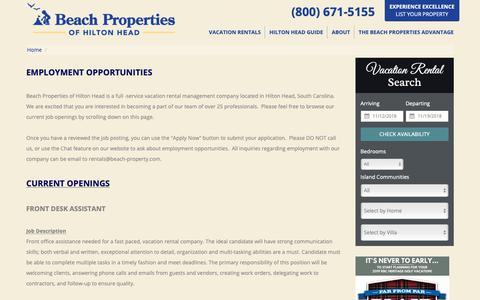 Screenshot of Jobs Page beach-property.com - Employment Opportunities Hilton Head Island South Carolina - captured Nov. 13, 2018