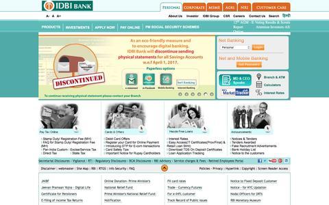 Screenshot of Home Page idbi.com - Personal & Corporate Banking | MSME & Agri banking - IDBI Bank - captured March 15, 2017