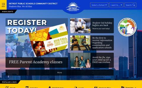 Screenshot of Home Page detroitk12.org - Detroit Public Schools Community District / Homepage - captured Nov. 14, 2018