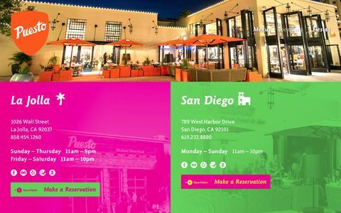 Screenshot of Locations Page eatpuesto.com - Locations  |  Puesto - captured March 8, 2016