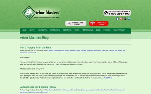 Screenshot of Blog arbormasters.com - Arbor Masters Blog - Tree Service, Lawn Care and Landscape Company - captured Sept. 8, 2016