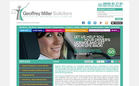 Screenshot of Home Page motoroffence.co.uk - Drink Driving Solicitors - Drink Drive Offences, Driving Bans - Motoring Law Solicitor, London - Geoffrey Miller Solicitors - captured Oct. 2, 2014