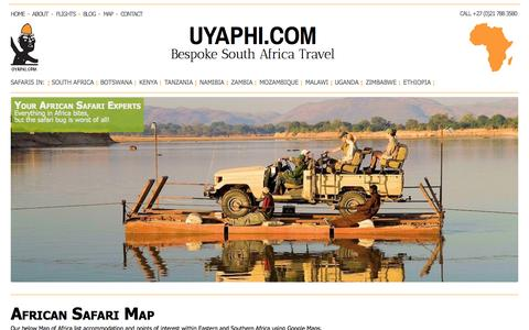 Screenshot of Maps & Directions Page uyaphi.com - African Safari Map, Africa Travel Map - captured Sept. 19, 2014