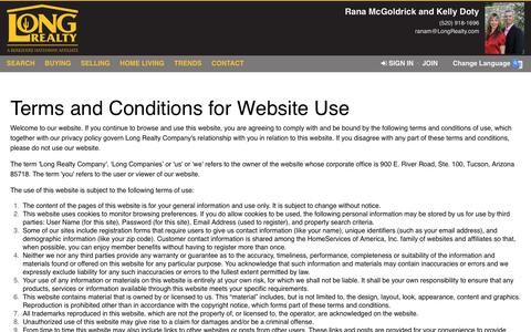 Screenshot of Terms Page longrealty.com - Terms of Use - captured Dec. 20, 2018