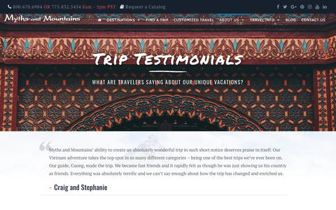 Screenshot of Testimonials Page mythsandmountains.com - Testimonials - Myths And Mountains - captured Nov. 19, 2018