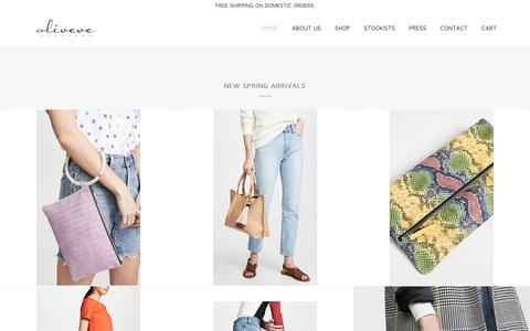 Screenshot of Home Page oliveve.com - oliveve handbags - captured April 18, 2019