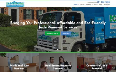 Screenshot of Home Page ecocityjunk.com - Eco-Friendly Junk Removal Services MD, DC, VA | Eco City Junk - captured July 14, 2018