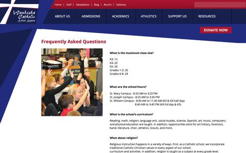 Screenshot of FAQ Page waukeshacatholic.org - Frequently Asked Questions | Waukesha Catholic School System - captured Dec. 10, 2018