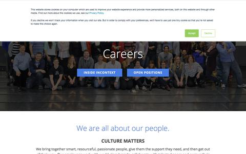 Screenshot of Jobs Page incontextsolutions.com - Tech Jobs in Chicago   Employment Opportunities at Incontext Solutions - captured July 17, 2018