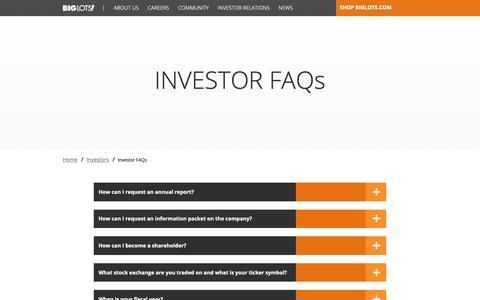 Screenshot of FAQ Page biglots.com - Investor FAQs | Investors  | Big Lots - captured Oct. 22, 2018