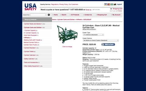 Screenshot of Landing Page usasafety.com - Medical Cylinder Cart, Sizes C/D/E/M7/M9, 24 Bottles, GCKJ024JP - USASafety.com - captured Oct. 27, 2014