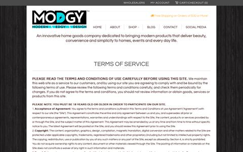 Screenshot of Terms Page modgy.com - Terms of Service                             Modgy - captured Nov. 16, 2017