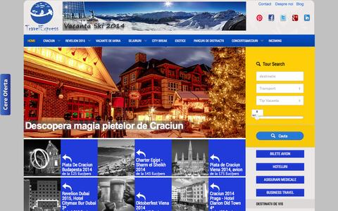 Screenshot of Home Page travelexpress.ro - Travel Express   Vacanta de iarna   Piete Craciun   Revelion 2015   Evenimente sportive si concerte   City break   Vacanta ski   - captured Oct. 9, 2014
