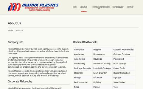 Screenshot of About Page matrixplastics.com - Matrix Plastics - Plastic Molding and Extrusion Sales Agencies and Manufacturers Reps | Matrix Plastics - captured June 10, 2017