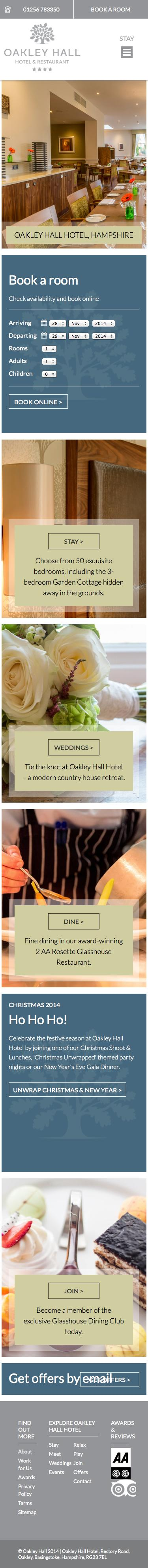 Screenshot of oakleyhall-park.com - Hotels in Hampshire | Oakley Hall Hotel Basingstoke - captured Nov. 27, 2014