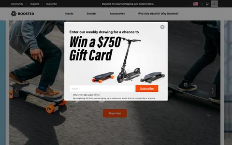 Screenshot of Home Page boostedboards.com - Boosted Boards: The Best Electric Skateboards, Longboards & Scooters - captured July 19, 2019