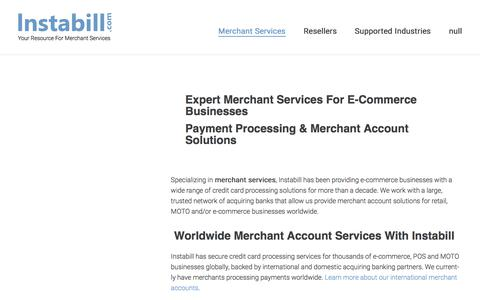 Screenshot of Services Page instabill.com - Instabill Merchant Services - captured June 21, 2017