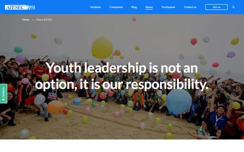 Screenshot of About Page aiesec.dk - About AIESEC | AIESEC Global - captured Feb. 4, 2016
