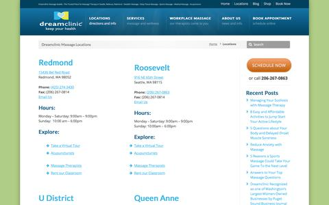 Screenshot of Contact Page Locations Page dreamclinic.com - Locations | Dreamclinic Massage in Seattle, Queen Anne, University District and Redmond - captured Sept. 21, 2019