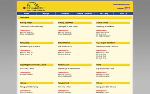 Screenshot of Locations Page danskautorent.com - Car Rental in Denmark - DanskAutoRent - captured Oct. 5, 2014