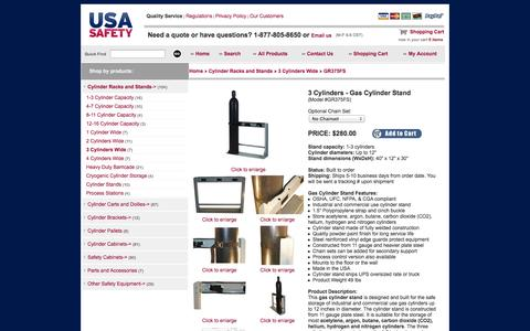 Screenshot of Landing Page usasafety.com - Gas Cylinder Stand, 3 Tanks, GR375FS - USASafety.com - captured Oct. 27, 2014