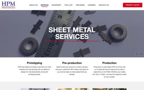 Screenshot of Services Page heroldprecision.com - Sheet Metal Fabrication Services | Herold Precision Metals - captured Aug. 11, 2017