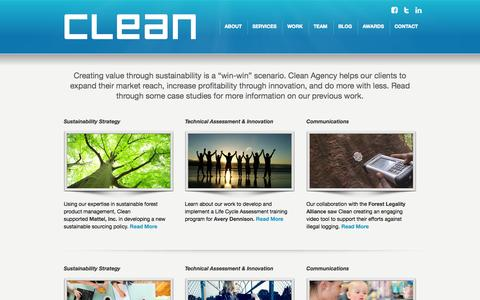 Screenshot of Case Studies Page cleanagency.com - Clean Agency Sustainability Consulting Los Angeles: Case Studies - captured Sept. 29, 2014