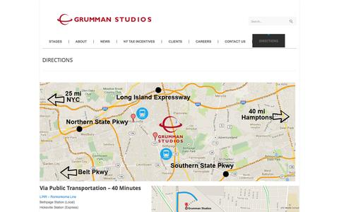 Screenshot of Maps & Directions Page grummanstudios.com - Grumman Studios DIRECTIONS » Grumman Studios - captured Sept. 30, 2014