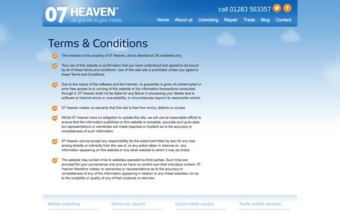 Screenshot of Terms Page 07heaven.com - Terms & Conditions | 07heaven Derby - captured Nov. 6, 2017
