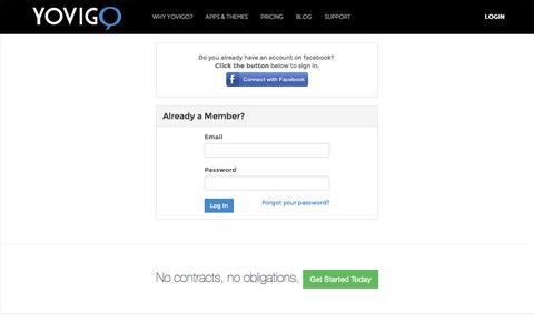 Screenshot of Login Page yovigo.com - Yovigo Website Builder & Social E-Commerce Platform  :: Login - captured Oct. 7, 2014