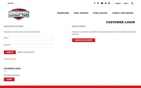 Screenshot of Login Page bergtoys.com - Customer Login - captured April 18, 2019