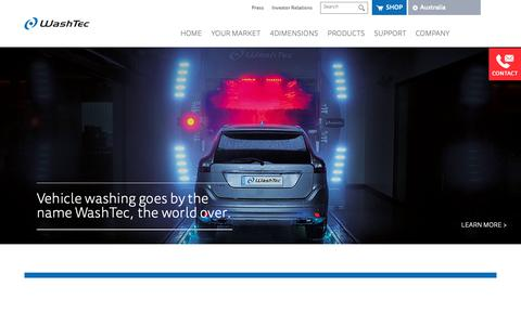 Screenshot of Home Page washtec.com.au - Carwash Systems, Car Wash Technology by Washtec - captured Oct. 20, 2018