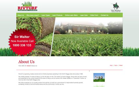 Screenshot of About Page rivturf.com.au - Riv Turf - Quality Turf and Instant Lawn, Melbourne, Wagga Wagga | About Us - captured Sept. 30, 2014