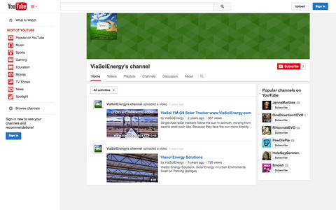 Screenshot of YouTube Page youtube.com - ViaSolEnergy's channel  - YouTube - captured Oct. 26, 2014