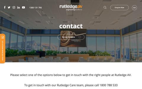 Screenshot of Contact Page rutledge.com.au - Audio Visual Systems | Rutledge AV | General Enquiry - captured Oct. 19, 2018