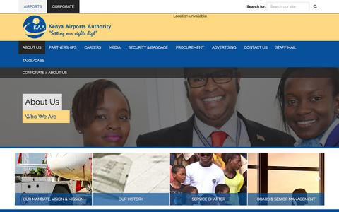 Screenshot of About Page kaa.go.ke - Kenya Airports Authority : About Us - captured Sept. 23, 2018