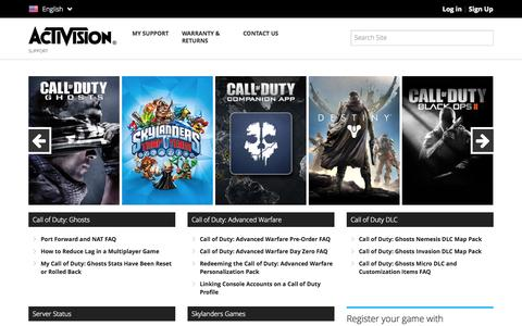 Screenshot of Support Page activision.com - Activision Support - captured Oct. 29, 2014
