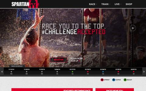 Screenshot of Home Page spartan.com - Spartan Race – Obstacle Course Races - captured Jan. 14, 2015