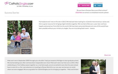 Screenshot of Testimonials Page catholicsingles.com - CatholicSingles.com® | The Best Catholic Singles Site for Online Dating and Fellowship - captured Oct. 28, 2016